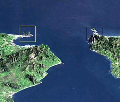 Imagen digitalizada de la NASA donde se situan el Peñon y el monte Musa